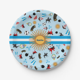 Argentina- country flag with famous items paper plate