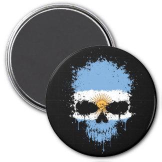 Argentina Dripping Splatter Skull Fridge Magnet