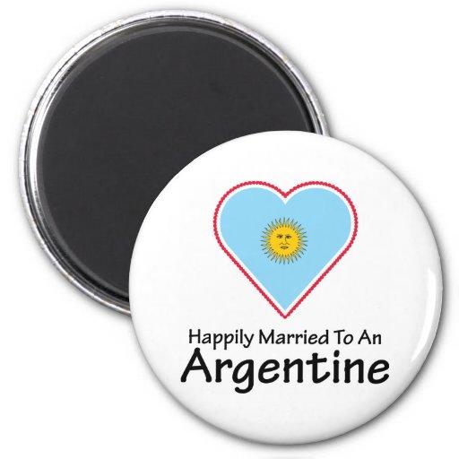 Argentina feliz casada imán redondo 5 cm
