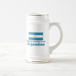 Argentina feliz casada jarra de cerveza