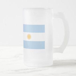 Argentina Flag Frosted Glass Beer Mug
