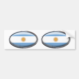 Argentina Flag Glass Oval Bumper Sticker