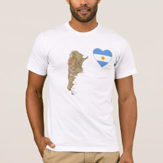 Argentina Flag Heart and Map T-Shirt