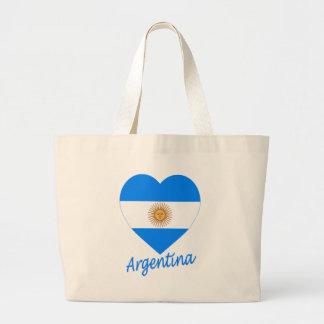 Argentina Flag Heart Canvas Bags