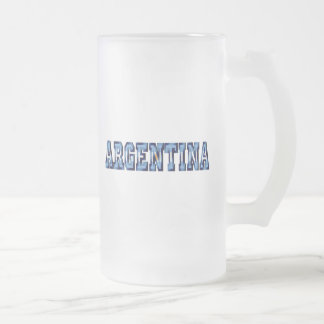 Argentina flag logo soccer ball gifts and futbol frosted glass beer mug