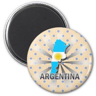 Argentina Flag Map 2.0 2 Inch Round Magnet