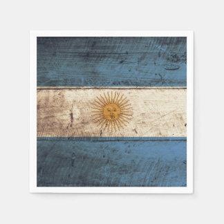 Argentina Flag on Old Wood Grain Napkin