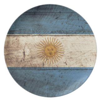 Argentina Flag on Old Wood Grain Plate