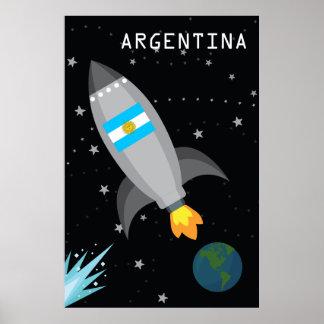 Argentina Flag Rocket Ship Poster