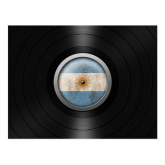 Argentina Flag Vinyl Record Album Graphic Postcard