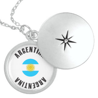 Argentina Flag Wheel Sterling Silver Necklace