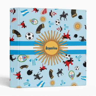 Argentina flag with known items of the country 3 ring binder
