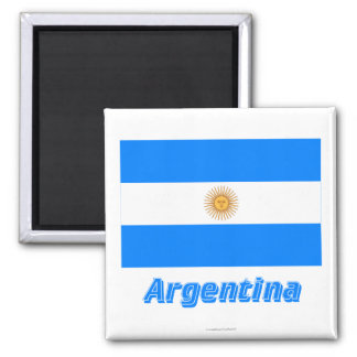 Argentina Flag with Name 2 Inch Square Magnet