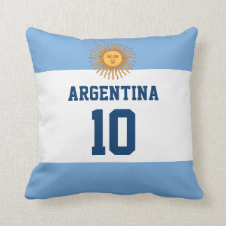 Argentina Flag - Your Favorite Player Number Throw Pillow