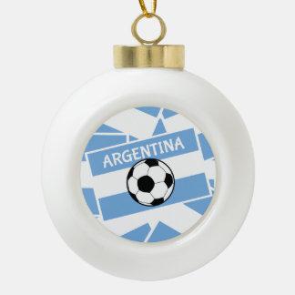 Argentina Football Ceramic Ball Christmas Ornament