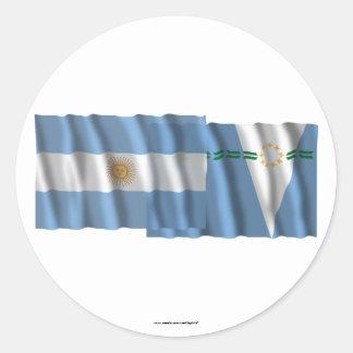 Argentina & Formosa waving flags Classic Round Sticker