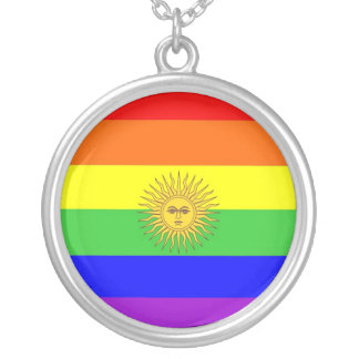 argentina gay proud rainbow flag homosexual round pendant necklace
