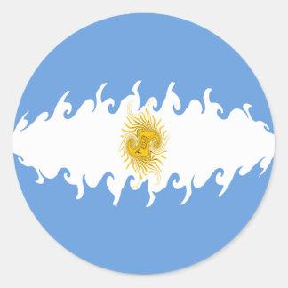 Argentina Gnarly Flag Classic Round Sticker