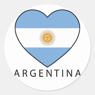 Argentina Heart Flag Soccer Pegatina Redonda