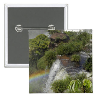 Argentina, Iguacu Falls. Rainbow at Iguacu 2 Inch Square Button