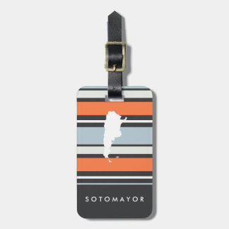 Argentina Map: Modern Stripes: Personalized Luggage Tag