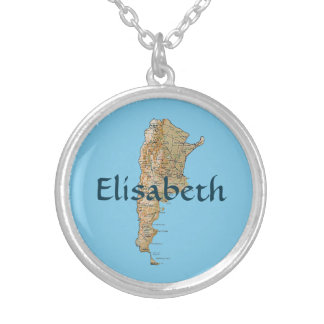 Argentina Map + Name Necklace