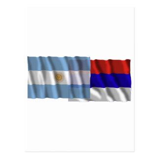 Argentina & Misiones waving flags Postcard