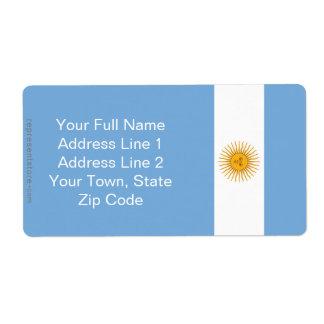 Argentina Plain Flag Label