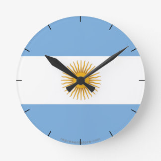 Argentina Plain Flag Round Clock