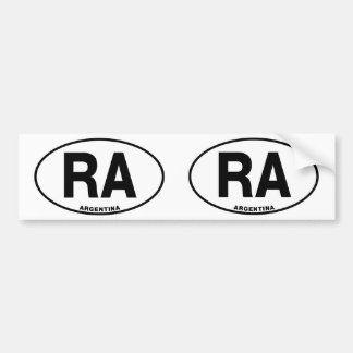 Argentina RA Oval Euro Style Identity Letters Bumper Stickers