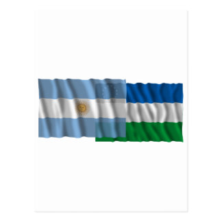 Argentina & Río Negro waving flags Postcard
