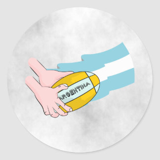 Argentina Rugby Team Supporters Flag With Ball Classic Round Sticker
