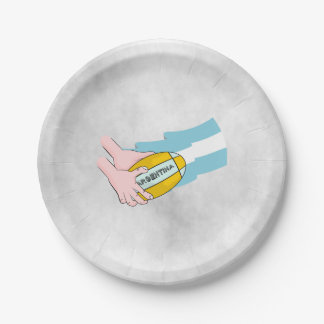 Argentina Rugby Team Supporters Flag With Ball Paper Plate