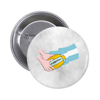 Argentina Rugby Team Supporters Flag With Ball Pinback Button