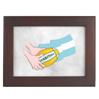 Argentina Rugby Team Supporters Flag With Ball Keepsake Box