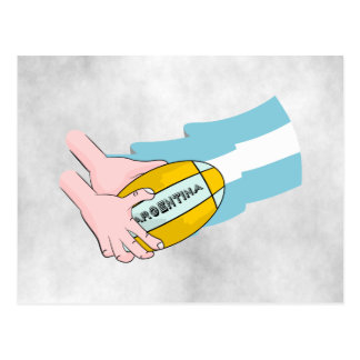 Argentina Rugby Team Supporters Flag With Ball Postcard