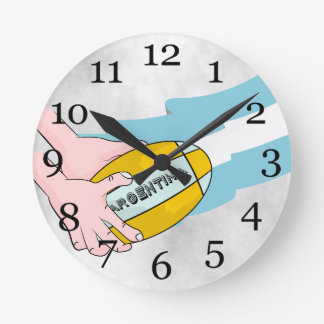 Argentina Rugby Team Supporters Flag With Ball Round Clock