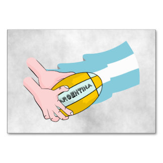 Argentina Rugby Team Supporters Flag With Ball Table Card