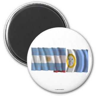 Argentina & Santa Fe waving flags 2 Inch Round Magnet
