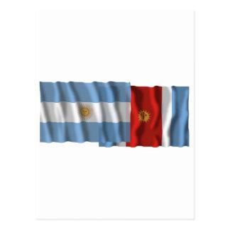 Argentina & Santiago del Estero waving flags Postcard