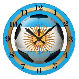 Argentina Soccer Ball Large Clock