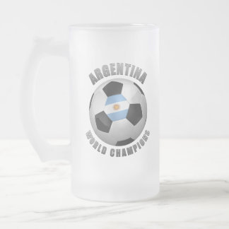 ARGENTINA SOCCER CHAMPIONS FROSTED GLASS BEER MUG