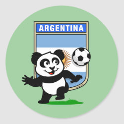 Argentina Football Panda Round Sticker