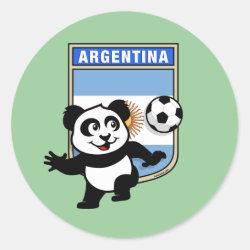 Round Sticker with Argentina Football Panda design
