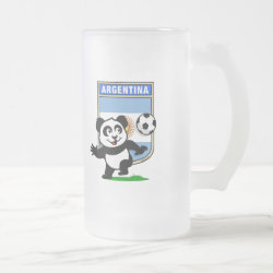 Frosted Glass Mug with Argentina Football Panda design
