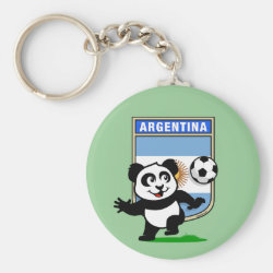 Basic Button Keychain with Argentina Football Panda design