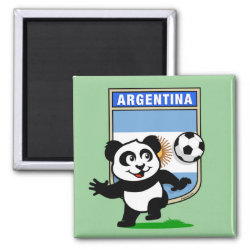 Square Magnet with Argentina Football Panda design