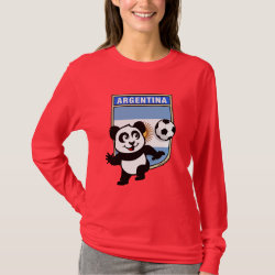 Argentina Football Panda Women's Basic Long Sleeve T-Shirt