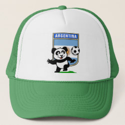 Trucker Hat with Argentina Football Panda design