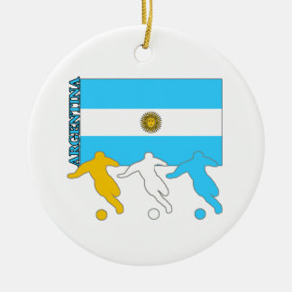 Argentina Soccer Players Double-Sided Ceramic Round Christmas Ornament